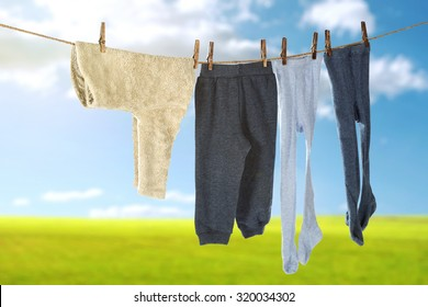 blurred background of grass and sky with clean clothes