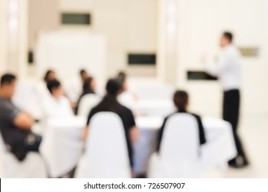 Blurred background of group of business people have seminars and business training to enhance sale skills and work planning to achieve goals in hotel's meeting room.