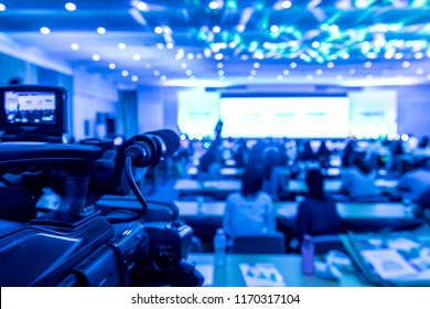 Blurred background for large conferences. The camera is shooting