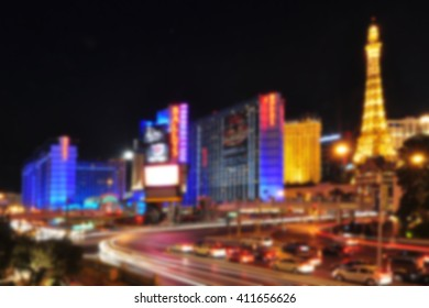 Blurred background of Las Vegas Strip, Nevada, USA