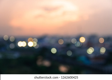 Blurred background lighting and sunrise in the morning