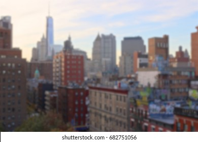Blurred background of the Lower Manhattan cityscape in New York, NY, USA.