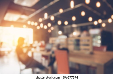 Blurred background made with Vintage Tones,Coffee shop blur background with bokeh and working man in cafe