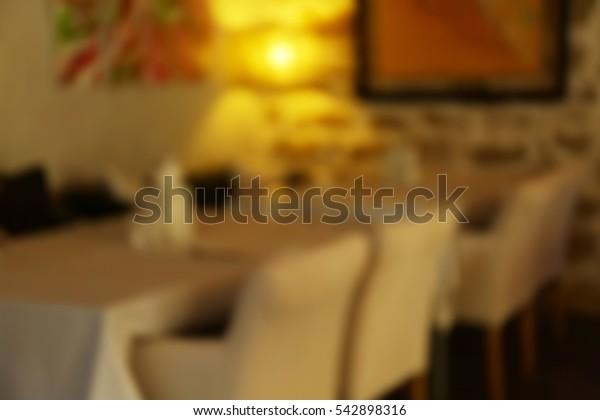 Blurred background of modern cafe interior