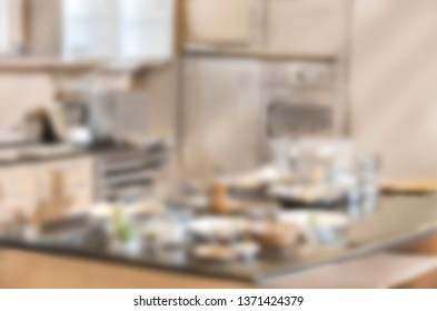 Blurred background modern kitchen Soft focused image useful as background