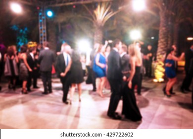 Blurred background of night dancing party outdoor