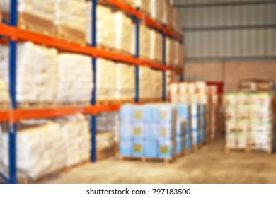 Blurred background of an organized commercial storage area