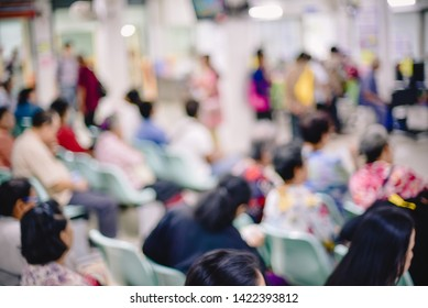 blurred background of Out Patient Department(OPD) of a hospital with patients