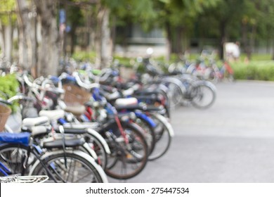 Blurred background : Parking of bicycles