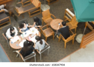 Blurred background : People in Coffee shop blur background