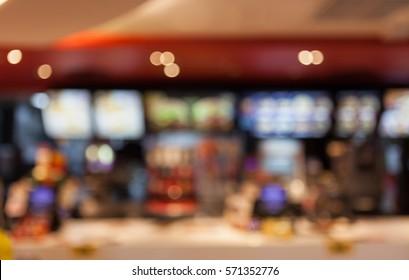 blurred background of people inside fast food restaurants