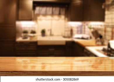 blurred background of red kitchen interior and free space for your composition