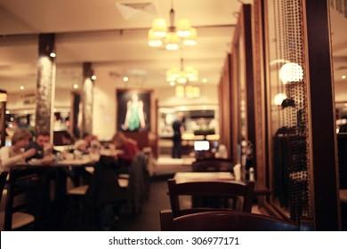 blurred background in restaurant