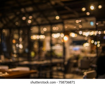 Blurred background of restaurant with abstract bokeh light.