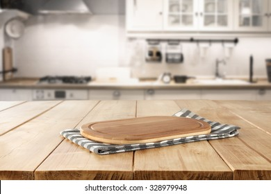 blurred background of retro kitchen with kitchen desk napkin and space for you