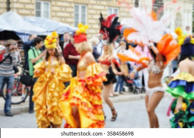 Blurred background of Samba dancers during carnival parade