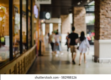Blurred background : shopping mall area , vintage tone