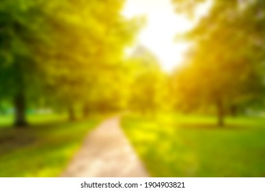 Blurred background in spring time of city park