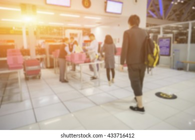 blurred  background of STA, Security Checkpoint - Body and Luggage Scan Machine ,Security body scan- Airport Check In,vintage color