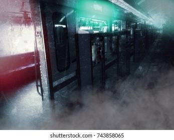 Blurred Background Station of Dilapidated Train Platform in Halloween Survival Concept ,Grunge Image.