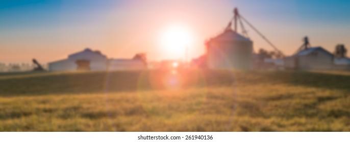 Blurred Background, Sunrise Over Farm