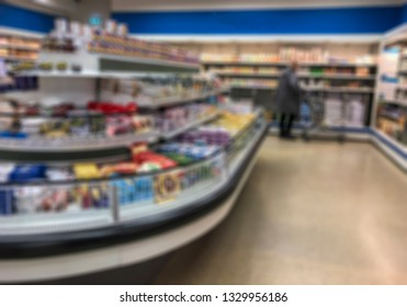 blurred background with a supermarket shelves