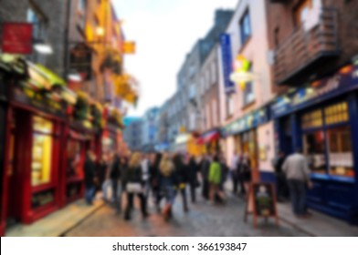 Blurred background of Temple Street, Dublin, Ireland