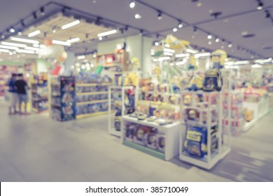 blurred background of  toys department store,Natural bokeh shopping mall Toy Store,vintage color.