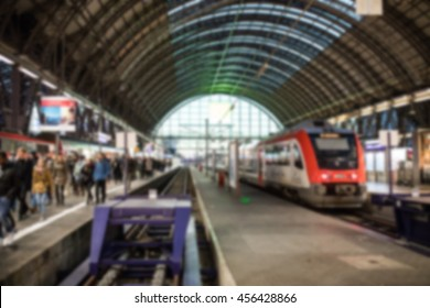 Blurred background of train station