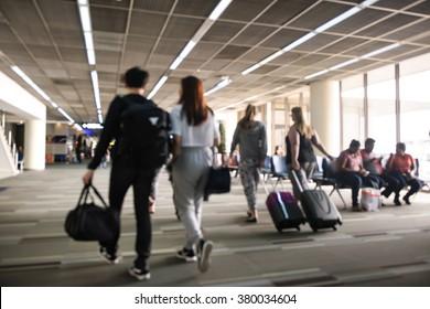 Blurred background : Traveler at airport terminal blur background