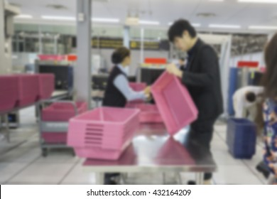 blurred  background of TSA, Security Checkpoint - Body and Luggage Scan Machine ,Security body scan- Airport Check In,vintage color