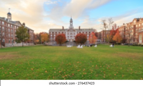 Blurred background of undergrad a traditional college campus on the eastern seaboard of the USA.