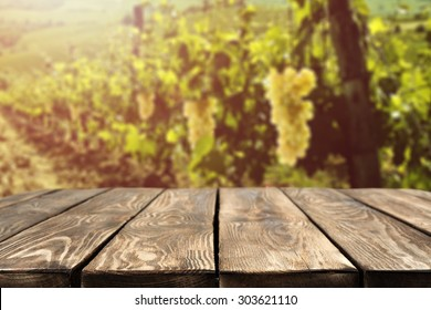 blurred background of vineyard and brown top
