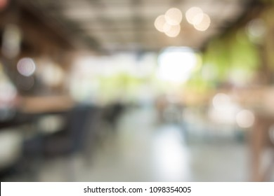 Blurred background of vintage cafe and sunlight with empty copy space.
