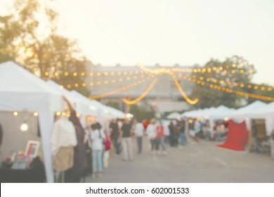 Blurred Background of Weekend Flea Market