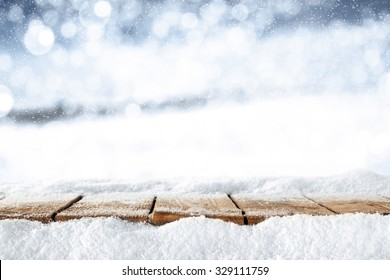 blurred background of winter and xmas time with snow