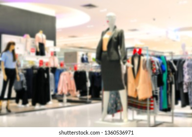 Blurred background Women's clothing display in the department store