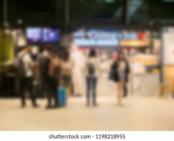 Blurred background,Crowded station during rush hour in Taichung.