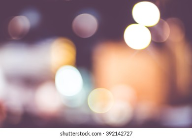 Blurred background,People in restaurant with bokeh light