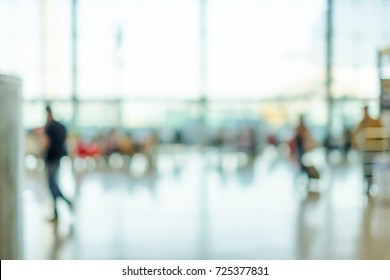 Blurred background,Traveler with baggage at Terminal Departure Check-in at airport with bokeh light,transportation concept