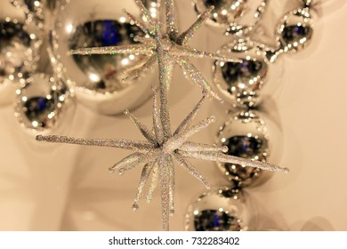 Blurred ball decorations star white tone in department Christmas festival