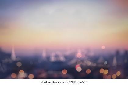 Blurred Bangkok city sky sunrise background