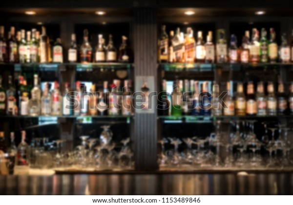 Blurred Bar Shelves Bar Counter Many Stock Photo (Edit Now