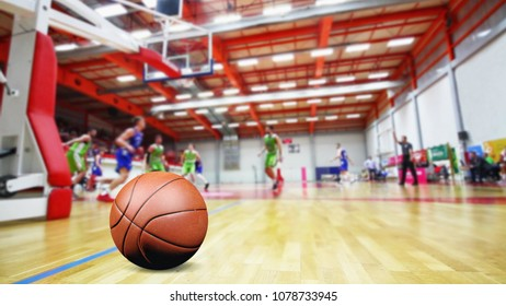 Blurred basketball players on match