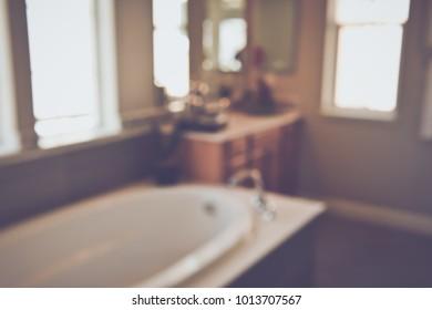 Blurred Bathtub in a Modern Bathroom