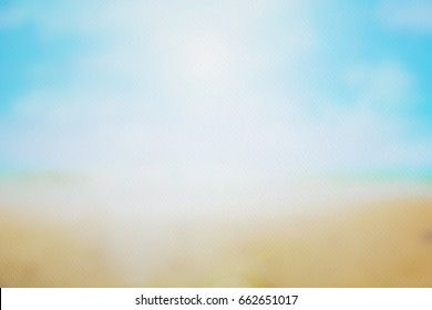 Blurred beach background on watercolor paper