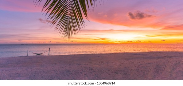 Blurred beach sunset. Palm leaf with colorful sky in sunset. Summer landscape, amazing peaceful mood. Nature landscape at tropical beach. Sea sand sunset sky with horizon, wonderful landscape scenery
