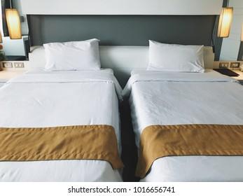 Blurred bedroom concept. Bedroom rest hotel business
