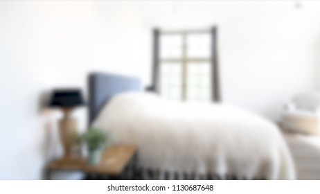 Blurred Bedroom with Modern House Interior Bokeh Background