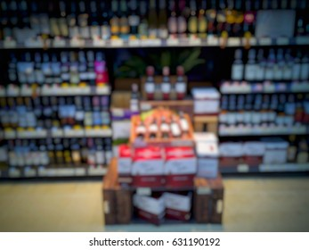 Blurred of beverages corner in supermarket.